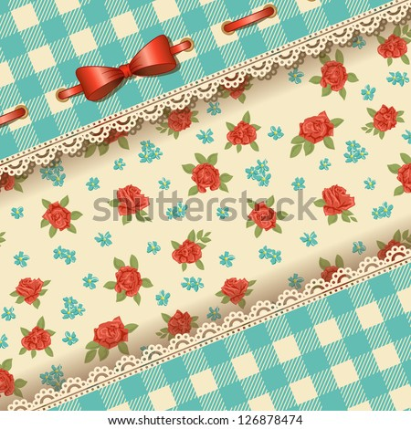 Cute Floral background with bow, lace and with floral pattern
