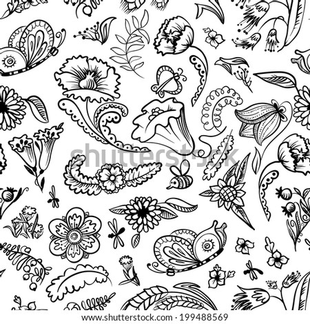 Cute floral black and white doodle seamless pattern  - stock vector