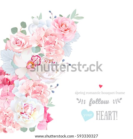 Cute Floral Crescent Shape Vector Frame Stock Photo (Photo, Vector ...
