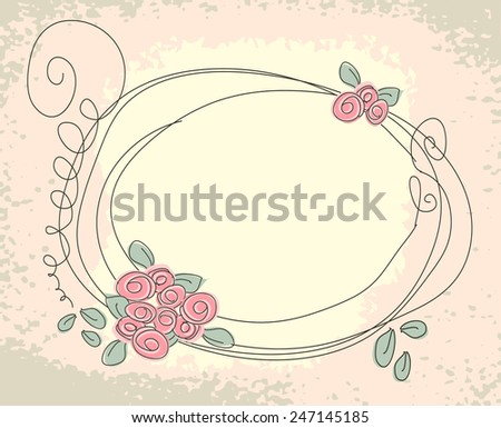 Cute floral frame. Vector doodle background with flower - stock vector