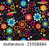 Cute floral rainbows seamless background - stock vector