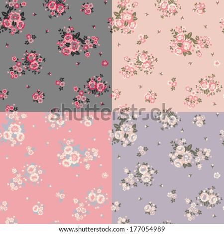 Cute Floral Repeat - 4 Ways - stock vector