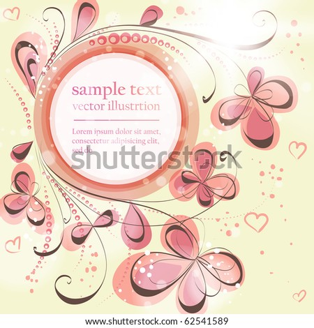 Cute floral seamless background with abstract hand drawn flowers, leafs and hearts for design. eps 10 - stock vector