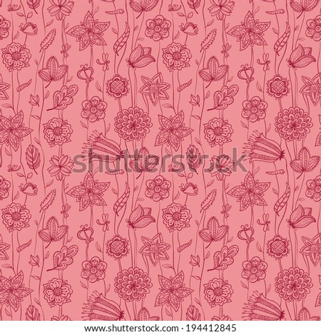 Cute floral seamless pattern in pink colors - stock vector