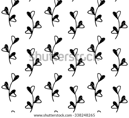 Cute floral seamless pattern with doodle hand drawn fantasy leaves. Design for kids. - stock vector