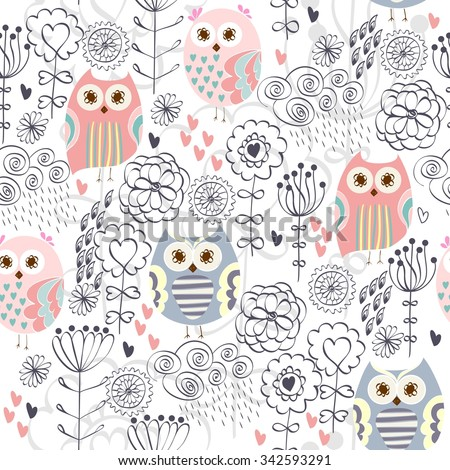 Cute floral seamless pattern with owl and flowers - stock vector