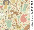 Cute floral seamless pattern with wild animals from Africa. Koala, lion, crocodile, hippo, giraffe, tiger, zebra. Vector retro background. - stock