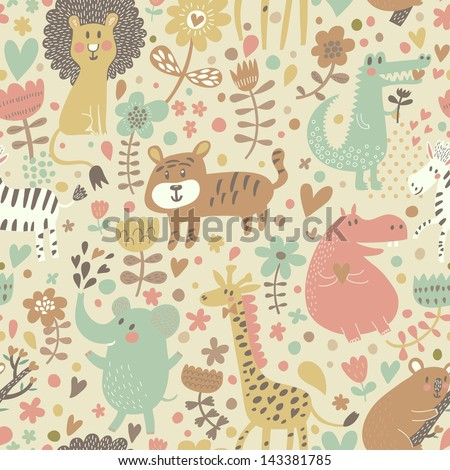 Cute floral seamless pattern with wild animals from Africa. Koala, lion, crocodile, hippo, giraffe, tiger, zebra. Vector retro background. - stock vector