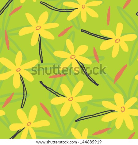 Cute floral summer background with lovely flowers. Vector seamless composition - stock vector