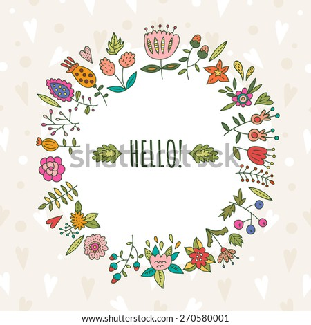Cute floral wreath made in vector - stock vector