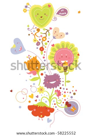 Cute flowers and hearts in kawaii style. - stock vector