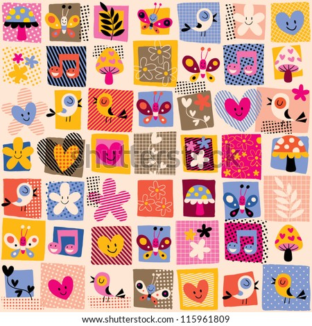 cute flowers, birds & hearts pattern - stock vector