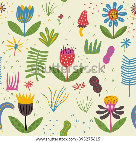 Cute flowers on a summer glade. Cheerful flowers are growing under the bright sun. Vector format - stock vector