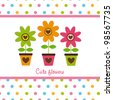 cute flowers with dots, cute card. vector illustration - stock vector