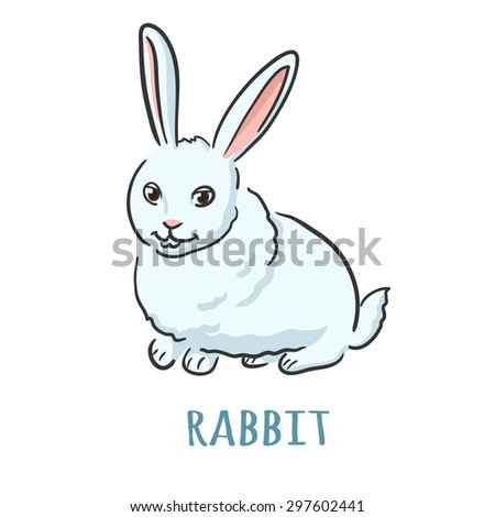 Cute fluffy bunny. Isolated with the inscription