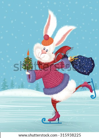 Cute fluffy rabbit ice-skating and holding a decorated with vegetables christmas tree and a filled with gifts bag