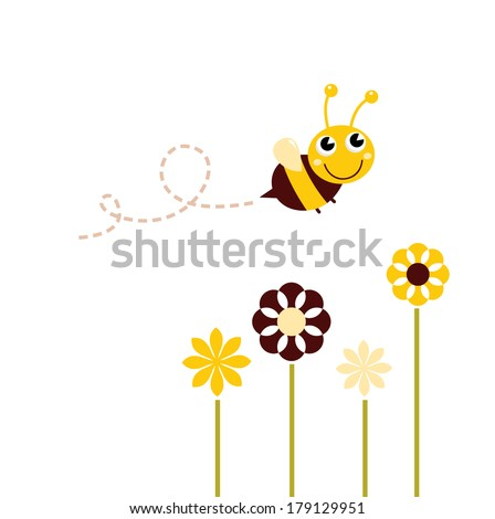 Cute flying Bee with flowers isolated on white - stock vector