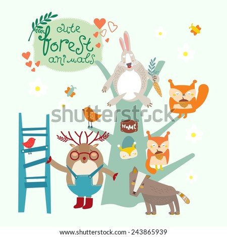 Cute forest animal. Rabbit. Family squirrels. Tree. House in the hollow. Deer with a ladder. Little wolf. Birds and butterflies. Vector. Illustration. - stock vector