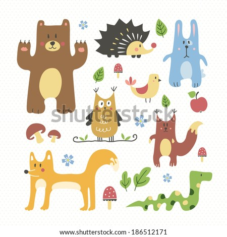 Cute forest animals set - stock vector