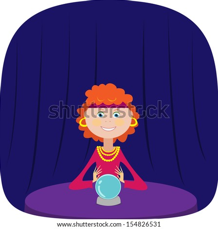 Cute fortuneteller with a crystal ball. Vector illustration. - stock vector