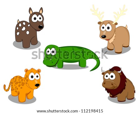 cute four-legged animals which consists of crocodiles, buffalo, deer, sheep and deer - stock vector