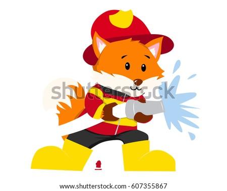 cute fox firefighter illustration suitable education stock vector rh shutterstock com Cup Clip Art Tools Clip Art