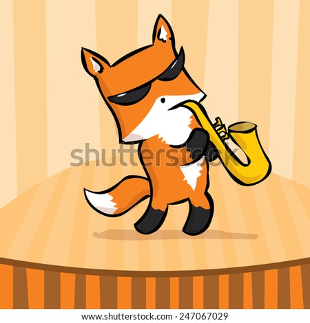 Cute fox musician playing the saxophone. Hand drawn vector cartoon illustration. - stock vector