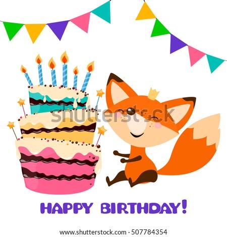 Cute fox birthday cake happy birthday stock vector 507784354 cute fox with birthday cake happy birthday card designctor holiday party template pronofoot35fo Choice Image