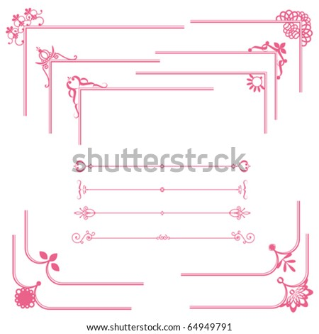 cute frame and line set - stock vector