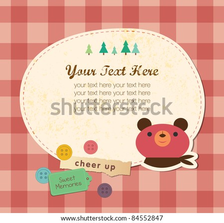 Cute Frame Design. Bear Greeting Card. - stock vector