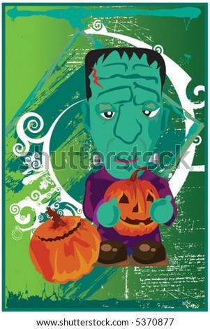 Cute Frankenstein Halloween Collection - stock vector