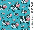Cute friendly cow pattern. To see similar, please VISIT MY PORTFOLIO   - stock vector