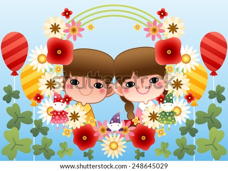 Cute Friends with beautiful flowers on bright blue background : vector illustration - stock vector