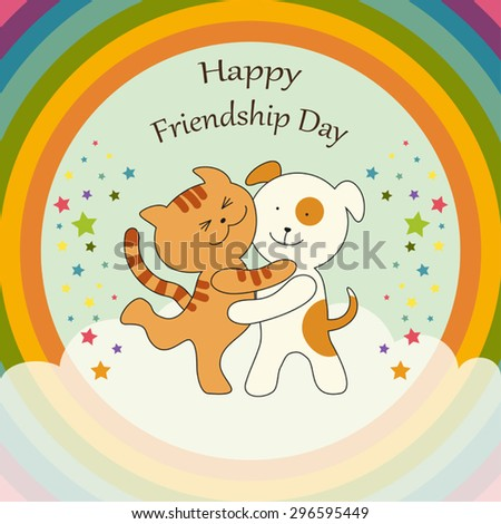 Cute Friendship Day card as Cat and Dog characters union on harmony rainbow background - stock vector