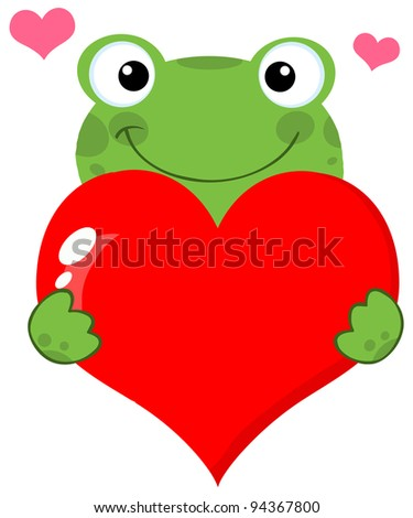 Cute Frog Holding A Heart - stock vector