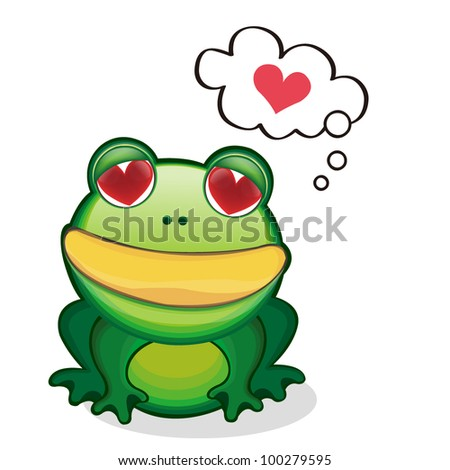 Cute Frog Over A Sign Board And Speech Bubble With Heart - stock vector