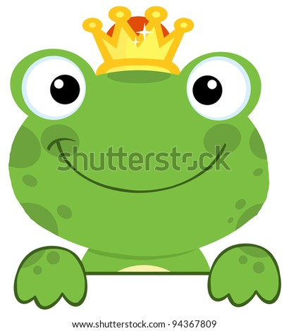 Cute Frog Prince Over A Sign Board - stock vector