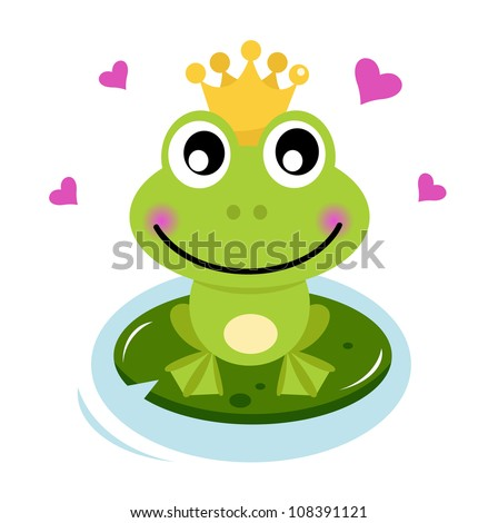 Cute Frog prince with hearts - stock vector
