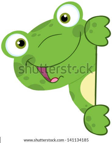 Cute Frog Smiling Behind Blank Sign. Vector Illustration - stock vector