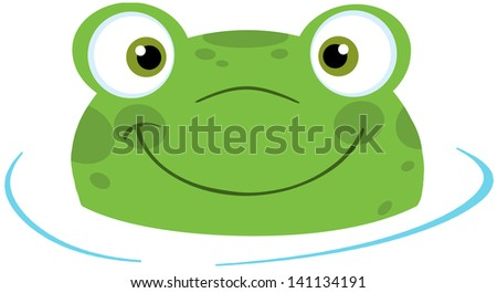 Cute Frog Smiling From Water. Vector Illustration - stock vector