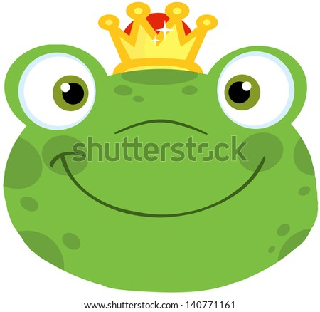 Cute Frog Smiling Head With Crown. Vector Illustration - stock vector