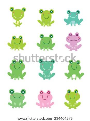 cute frog vector - stock vector