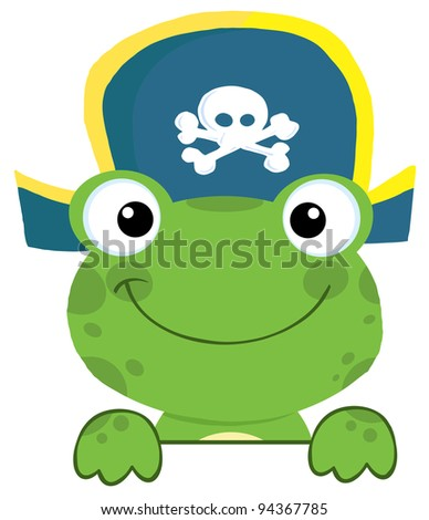 Cute Frog With Pirate Hat Over A Sign Board - stock vector