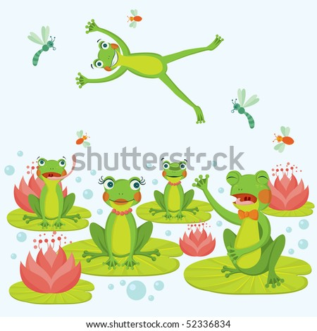 Cute frogs - stock vector