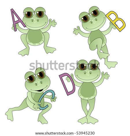 Cute Frogs holding letters of the alphabet.