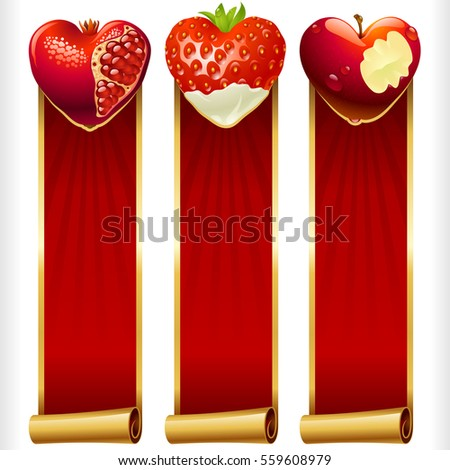 Cute Fruit Hearts and Red Ribbons vertical Banners set. Juicy Pomegranate, Strawberry and Cream, and Bitten Apple. Valentines Day celebration or Romantic Lovely Frames Design. Vector Illustration