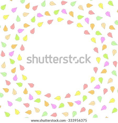 Cute funny background pattern border frame with multicolored pastel paper planes isolated on the white (transparent) fond. With space for invitations or greeting cards text. Vector illustration eps 10 - stock vector