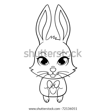 Cute funny bunny with large eyes, vector illustration - stock vector