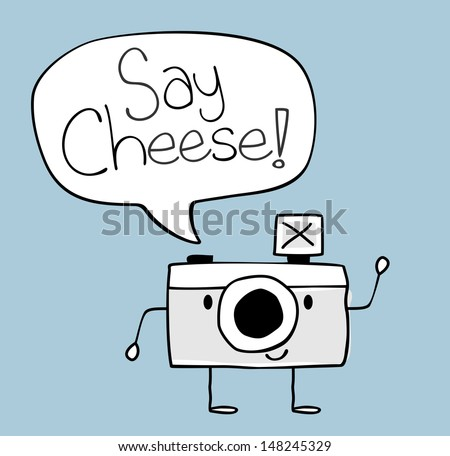 cute funny camera with say cheese text balloon, legs and arms hand drawn on solid color background easy to isolate - stock vector