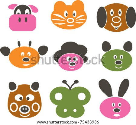 cute funny cartoon animals: cow, dog, cat, rabbit, pig, butterfly, mouse, sheep, vector illustration